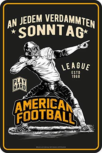 Lobo Negro Cartel decorativo de chapa como regalo para fans del fútbol – en cada domingo condenado, 30 x 20 cm