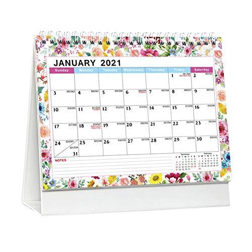 #N/V Calendario de escritorio inglés 2021, diseño de flores, calendario creativo