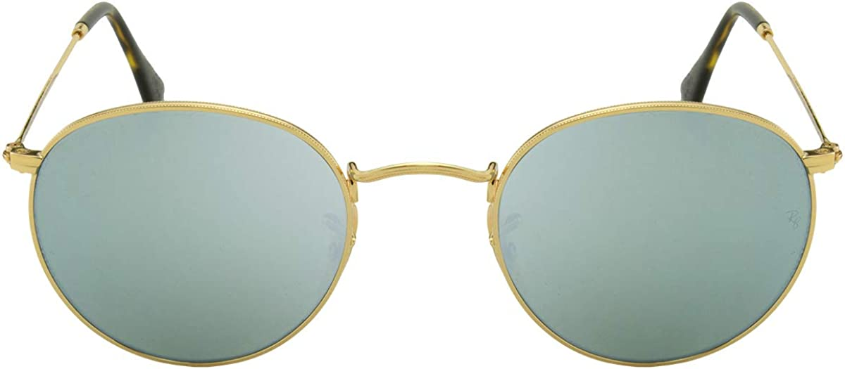 Ray-Ban Lunettes de soleil ronde lentille plate en or argent Flash RB3447N 001/30 50 Silver Flash Mirror