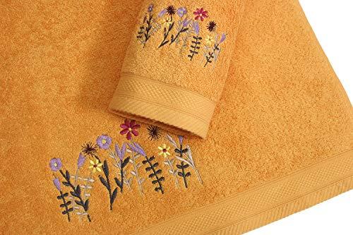 Montse Interiors Juego de Toallas Bordadas 2 Piezas 550gr (Ocre Flores Nº1)
