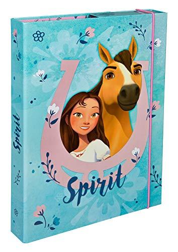 Undercover SIIT0940 Heftbox A4 met spanrubber, DreamWorks Spirit, blauw-roze
