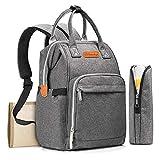 QULONG Windel-Tasche Rucksack, Baby-Windel-Wickeltaschen Multifunktions-Waterproof Travel Back Pack mit Wickelauflage Milchflasche-Schalen für Reisen,C