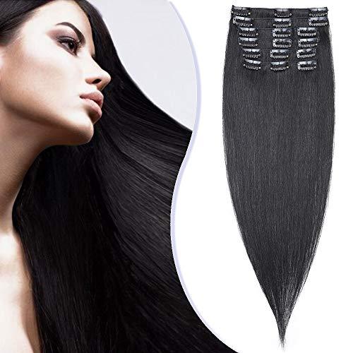 Elailite Extensiones Cabello Natural Clip Consejos Completos 100% Remy Pelo Humano 8 Piezas Lisas Largas 60cm 90g #01 Negro Oscuro