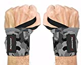 Rip Toned Wrist Wraps - 18' Professional Grade with Thumb Loops - Wrist Support Braces - Men & Women - Weight Lifting, Crossfit, Powerlifting, Strength Training (Gray Camo – Less Stiff)