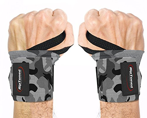 "Rip Toned Wrist Wraps - 18"" Professional Grade with Thumb Loops - Wrist Support Braces - Men & Women - Weight Lifting, Crossfit, Powerlifting, Strength Training -Bonus eBook (Gray Camo – Less Stiff)"