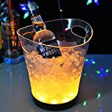 Womdee Seau à Glace LED, Seau à Glace Lumineux Clair Acrylique 5 litres Grande capacité avec 7 Couleurs changeant Champagne vin Boissons bière glacière Seau pour Bar Party Maison etc