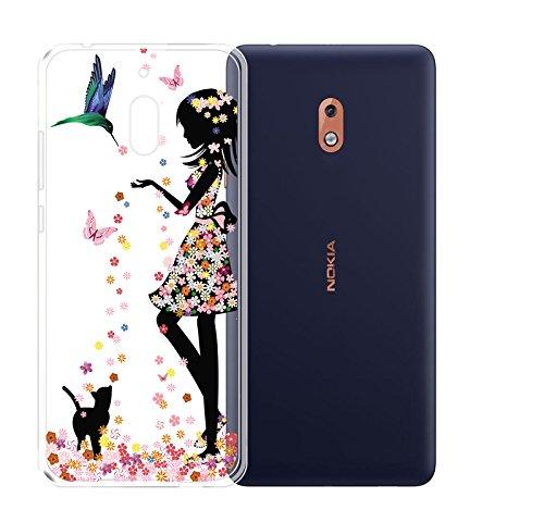 JIENI Custodia per Nokia 2.1 Cover Fantasia Ragazza Trasparente TPU Cover Coperchio Flessibile Sottile Protettivo Morbido Silicone Custodia Skin Bumper Nokia 2.1