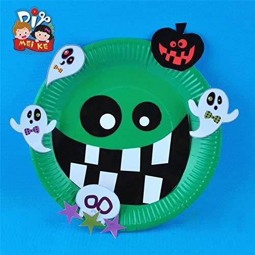 Halloween diy Pappteller Teller Kindergarten Kinder handgemachte Umwelt Produktion Material Paket Zufallscode