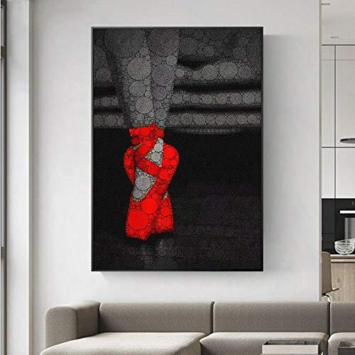 YuanMinglu Abstrakte Ballerina Bild auf Leinwand Poster und Druck auf Wand rot High Heel Leinwand Kunst Malerei Wohnkultur Rahmenlose Malerei50x75cm