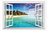 HALLOBO® XXL Wandaufkleber Fenster Mittelmeer Meer Strand
