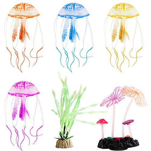 KONUNUS 6 piezas brillantes decoraciones de acuario artificiales fluorescentes para decoración de acuario