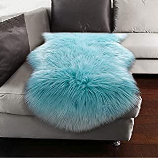 YJ.GWL Soft Blue Fluffy Faux Fur Sheepskin Area Rug for Bedroom Sofa Cover Seat Living Room Shaggy Bedside Rugs 2' x 3'