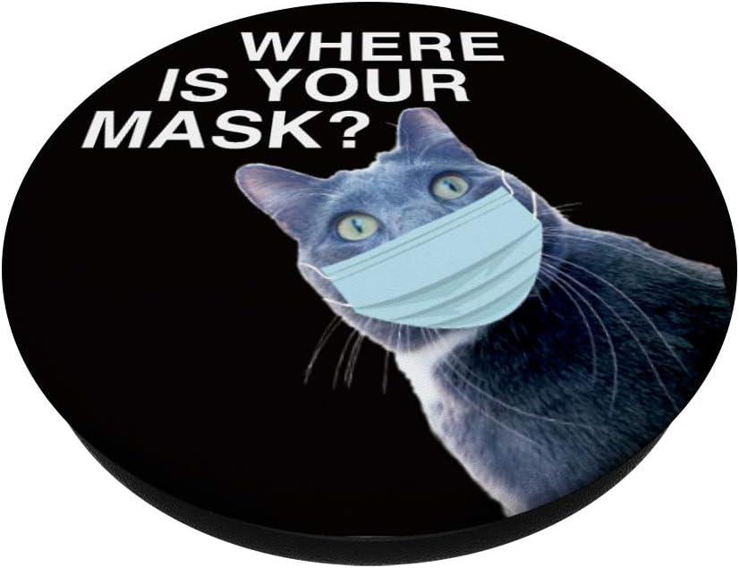 Agarre intercambiable para Tel/éfonos y Tabletas Wear a Mask Funny Cat Gato que lleva una m/áscara PopSockets PopGrip