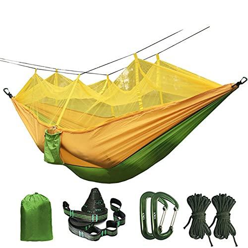 Amaca portatile con zanzariera per doppia persona piegata nella borsa Amaca con zanzariera Letto sospeso per kit da viaggio Campeggio - Verde e giallo