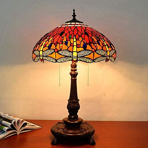 KELITINAus Red Dragonfly Design Table Lamp 17-Inch Stained Glass Living Room Bedroom Bedside Lamp European Retro Style Desk Lamp