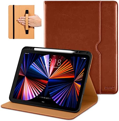 DTTO Compatible with iPad Pro 12.9 Case 2021, Multiple Viewing Angles Cover [Supports Pencil 2nd Gen Charging] with Pencil Holder – Auto Wake/Sleep for iPad Pro 12.9 Inch 5th Generation, Brown
