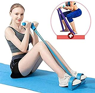Darisdoccy Pedal Resistance Band Super Light 4-Tube Yoga Strap Elastic Pull Rope Fitness Equipment for Sit-up Bodybuilding Expander Abdomen Workout Arm Stretching Slimming Training
