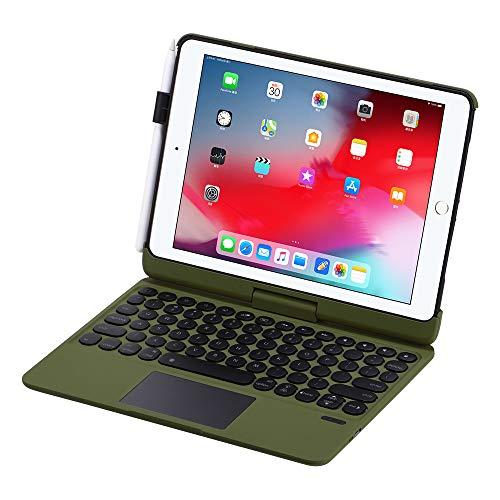 Synchro Omnitype Funda con Teclado para Ipad de 9,7' - 9.7 iPad 2018 (6ª Generación), iPad 2017 (5ª Gen.), iPad Pro 9.7, iPad Air 2&1 - Gira 360°, Retroiluminación de 7 Colores - Camuflaje