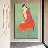 KWzEQ Pintura al óleo Master Mujer sentada en la Pared Arte Lienzo póster para Sala de Estar decoración del hogar,Pintura sin Marco,60x90cm