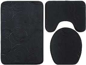 ESUPPORT Set of 3 Soft Absorbent Memory Foam Bathroom Mat Non Slip Bath Rug, Toilet Lid Cover, U Shaped Contour Rug, Black