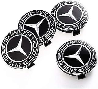 FidgetFidget for Mercedes Benz Wheel Center Caps Emblem Black Red Chrome Hubcaps 75MM Badge