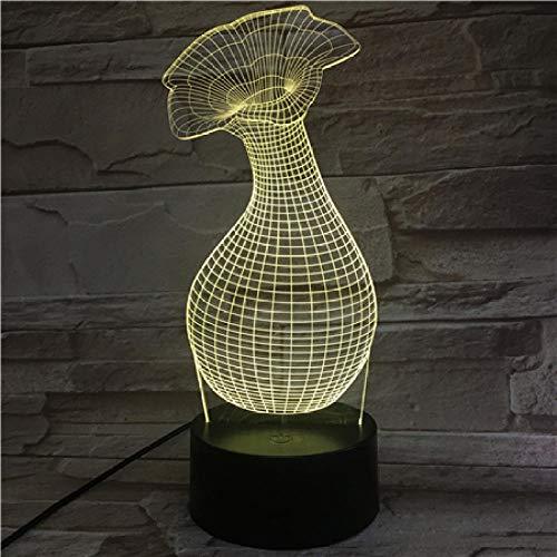 3D-nachtlampje, vaas met levendigheid, 3D-nachtlampje, illusie, bedlampje voor kinderen, binnenverlichting, tafellamp en bedlampje, cadeau voor kinderen. Afstandsbediening