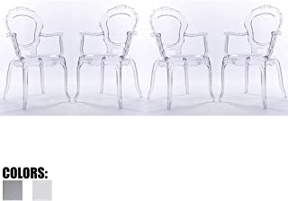 2xhome - Set of Four (4) - Belle Style Ghost Chair Ghost Armchairs Dining Room Chairs - Clear Armchairs Lounge Chairs Seats Higher Fine Modern Designer Artistic Classic Mold