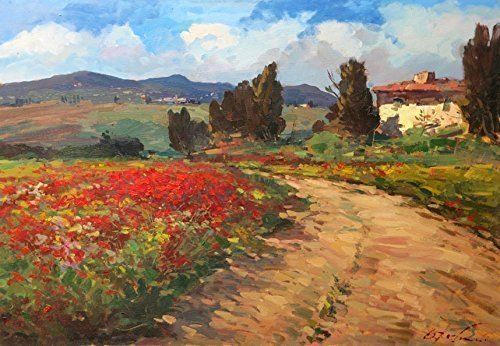 Italy Tuscan Country Art Prints on Canvas and Paper Landscape Field Poppies Old House Clouds Cypress Trees from Original Oil Painting of Agostino Veroni Home Decor Living Room Christmas Gifts Ideas