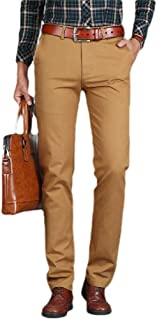 neveraway Men's Solid Easy Care Pockets Long Pants Straight Plain Front Pant