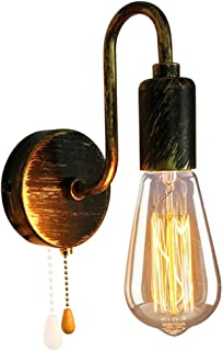 ANKBOY Applique Murale Industrielle Vintage Lampe de Mur Lampe de Lecture E27 Avec Interrupteur à Tirette Spots Muraux Rét...