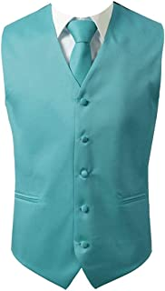 3pc Men's Dress Vest Necktie Pocket Square Set For Suit or Tuxedo