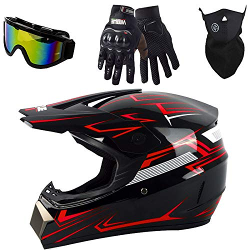 LCRAKON Motocross Helmet Black-red Kids Adult Off-Road DH Enduro Racing Downhill Dirt Bikes MTB ATV BMX Quads Motorbike Helmet Set with Goggles Mask Gloves - Personality Cool - S/M/L/XL