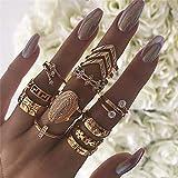 Genglass Anneaux d'articulation de feuille vintage Boho Gold Coin Joint Knuckle Ring Set avec des bijoux en cristal pour femmes et filles (13 pièces)