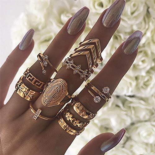 Genglass Anillo de nudillo de hoja vintage con anillo de oro bohemio, conjunto de anillos con joyas de cristal para mujeres y niñas (13 piezas)