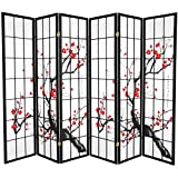 Oriental Furniture 6 ft. Tall Flower Blossom Divider - Black - 6 Panels