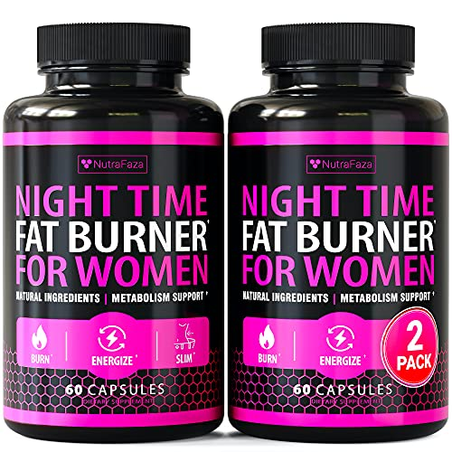 (2 Pack) Night Time Fat Burner for Women - Weight Loss Pills for Women - Sleep Aid Diet Pills, Appetite Suppressant - Fast Metabolism Booster for Belly Weight Loss - Made in USA - 120 Vegan Capsules