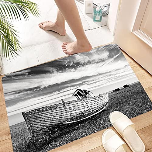 Alfombra de Baño Alfombra de Ducha Antideslizante,Decoración del océano, imagen de un barco de madera anticu, Suave y acogedora, Agua súper Absorbente, Antideslizante, para Dormitorio de baño 50x80 cm