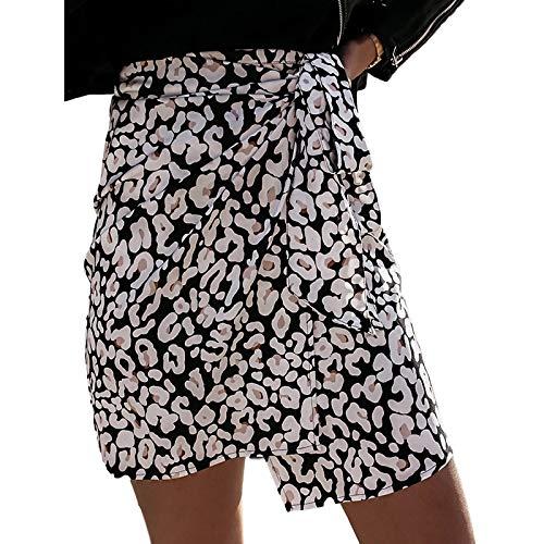 YLXINGMU Faldas De Mujer, Pring Wo En High Wai T Blanco Eopard Impresión Ini Wrap Kirt Ca UA I Bandage Kirt Ady E Egant Irregu Ar Hort,