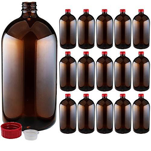 遮光瓶 中栓付 褐色 1000ml(1L)サイズ 1ケース(15本入) 詰め替え用ボトル ガラス瓶 空容器 茶色ビン 消毒用アルコール対応 大容量 保存用 詰め替え容器 アルコール可 ガラスボトル