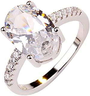 winsopee Promise Rings,Fashion Simple Luxury Oval White Zircon Ladies Ring Jewelry Decors