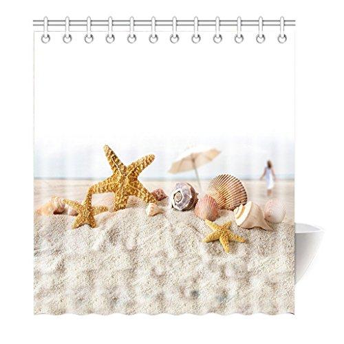 Violetpos Duschvorhang Seestern Sea Star Tritonshorn Hochwertige Qualität Badezimmer 120 x 180 cm
