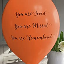 ANGEL & DOVE 25 Orange 'You are Loved, Missed, Remembered' Biodegradable Funeral Remembrance Balloons - for Memory Table, Memorial, Condolence, Celebration of Life