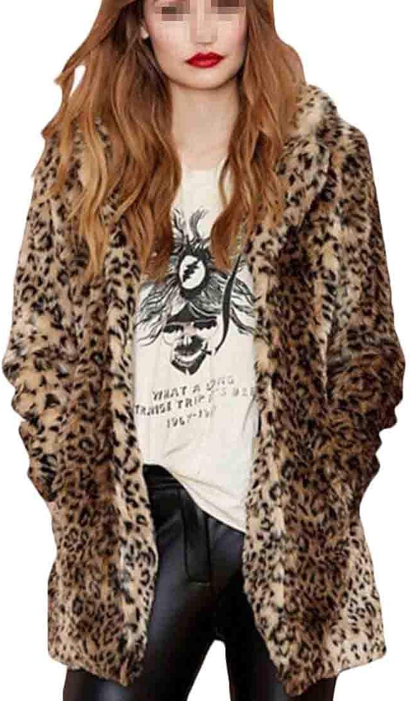 Rrive Women Faux Fur Pockets Open Front Thicken Leopard Print Long Trench Coat