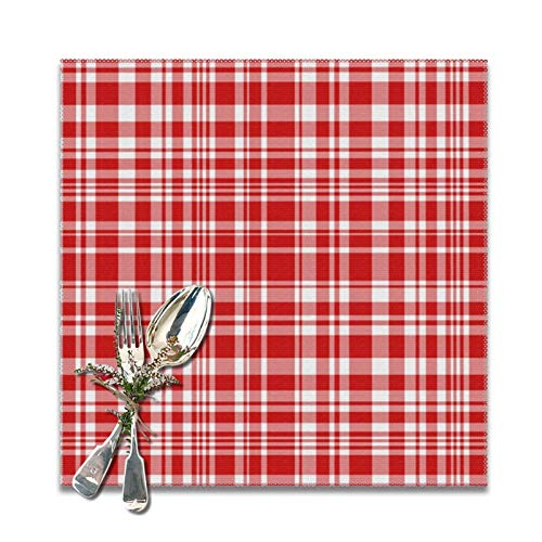 Abigail Anne Candy Cane Plaid Placemats for Dining Table Set of 6,Non-Slip Heat Resistant Kitchen Table Mats for Holiday Wedding Party Home Office Decor 12'x12'