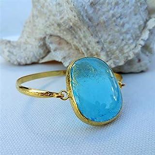 Progettato appositamente, Ottone placcato oro, Bracciale in vetro pastello blu cielo