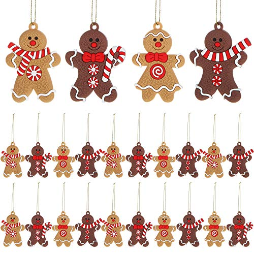 WILLBOND 24 Pezzi Ornamento Pan Zenzero Natale Omino Pan Zenzero Natalizio Omino Decorazione Ornamento Pan Zenzero Natale Appeso per Decorazioni di Albero Natale, 4 Stili