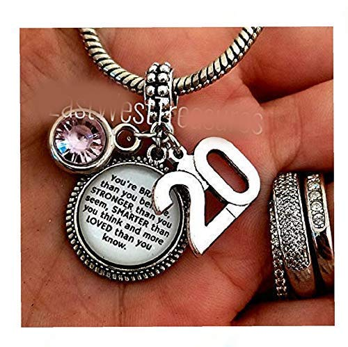 Amazon Com Happy 20 20th Birthday Girl Quote Gift Medallion Charm With Bracelet Necklace Keychain Personalized Jewelry Gift For 20 Year Old Girl Handmade