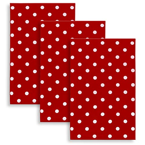 Cackleberry Home Red and White Polka Dot Fabric Kitchen Towels 18 x 28 Inches, Set of 3