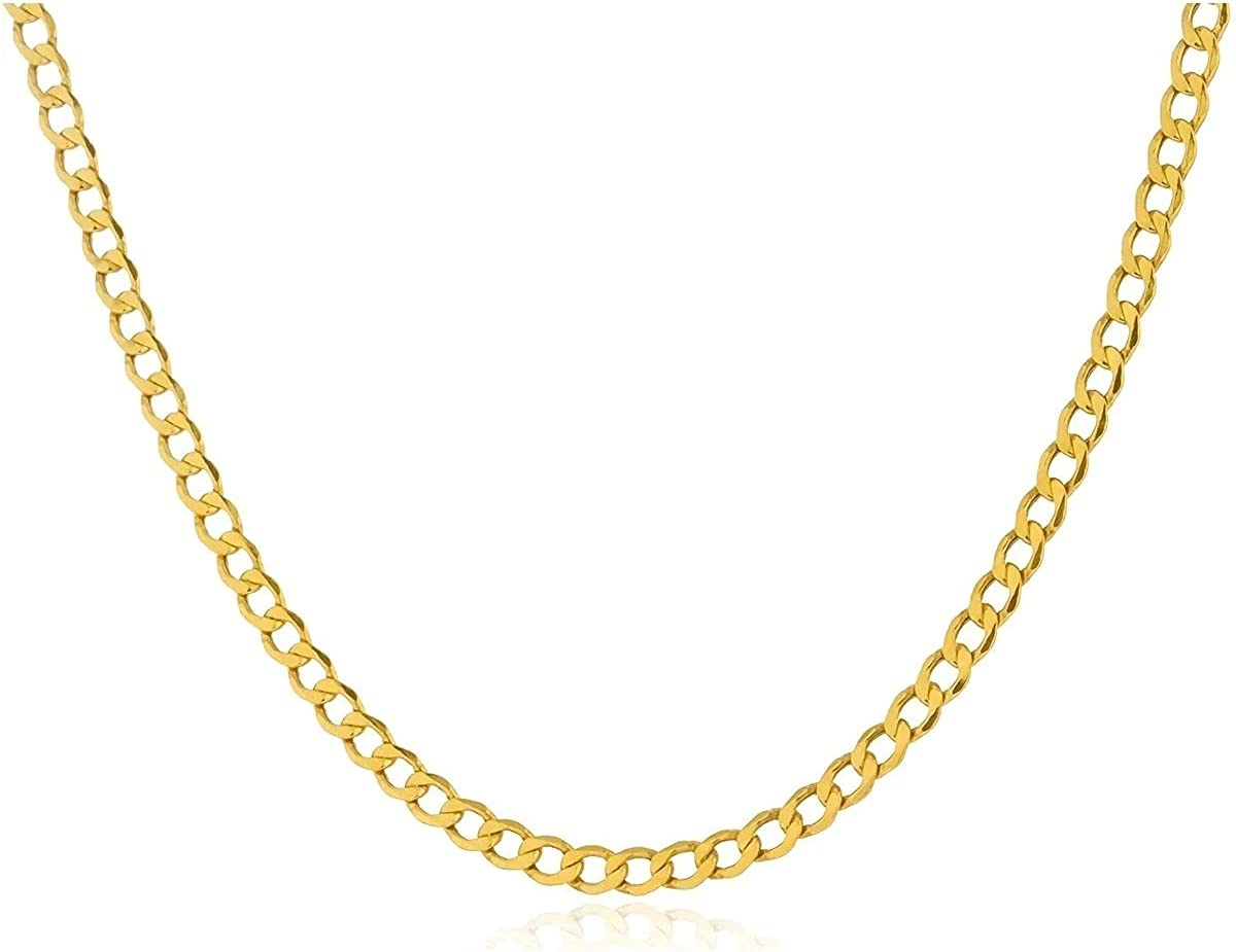 10K Yellow Gold Cuban Curb Chain Necklace Unisex, 2.6 MM Real 10K Gold Italian Cuban Curb Chain With Lobster Clasp,10 Karat Gold Chain, All Lengths Available, Flawless Gift Box Included
