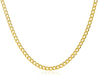 14K Yellow Gold Cuban Curb Chain Necklace Unisex, 2.6 MM Real Italian 14k Gold Chain for Men and Women, 14 Karat Cuban Cur...